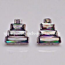Regenbogen Topas Ohrstecker 925er Silber rhodiniert 15 x 14 mm