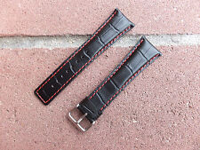 24mm Curved end Alligator Genuine Leather watch band,strap with Red Stitches