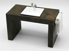 More details for dolls house miniature 1:12 scale modern brown sink unit and white basin br32