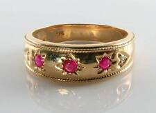 WIDE 9CT 9K GOLD INDIAN RUBY DIAMOND GYPSY GIPSY BAND ART DECO INS RING FREE RE