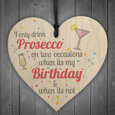Prosecco Wood Heart Friendship Wall Plaque Sign Funny Birthday Gift Alcohol
