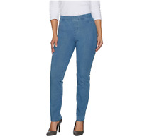 Isaac Mizrahi Live! 24/7 Denim Straight Leg Jeans Light Indigo Size PL Petite 22