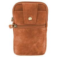 Sacoche de ceinture smartphone étui zippé aspect cuir + mousqueton - Marron