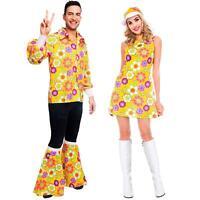 De Adulto 1960's Pareja Disfraz Flower Power Amarillo 60's Hombre o Mujer