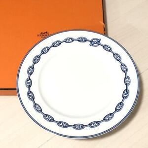 "HERMES Dessert Plate Chaine D'Ancre Blue Tableware Dish Porcelain New Unused 9"""