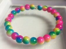Multi Coloured Rainbow Glass Bead Memory Wire Bangle / Bracelet.