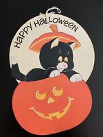 Vintage Double-Sided Happy Halloween Cat & Pumpkin Decoration