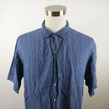 Polo Ralph Lauren Mens Linen Caldwell SS Button Down Navy Striped Dress Shirt XL