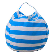 Kids Stuffed Animal Plush Toy Storage Bean Bag Soft Pouch Stripe Fabric Chair Blue