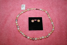"Freshwater Pearls Necklace 8-9 MM 16"" Pink Purple Pearl Pinkish Earrings 10-11MM"