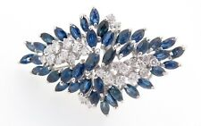 .A 14k White Gold 1.20ct Diamond & Aust Sapphire Ladies Cluster Ring Val $9345