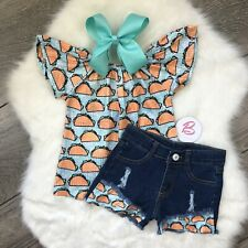 Girl Boutique Taco Denim Outfit Set Children's Clothing