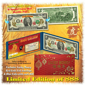 24KT GOLD 2022 Chinese Lunar New Year YEAR OF THE TIGER Genuine $2 BILL LTD 888