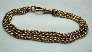 Antique Heavy Lovely Quality 9 carat Rose Gold Double Row Albert Bracelet