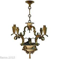 Jules Leleu (attribué à) Lustre Art Deco En Métal Laqué Et Bronze Doré