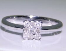 A FINE 9CT WHITE GOLD 0.15 CT DIAMOND SQUARE CLUSTER  ENGAGEMENT RING 1.9g