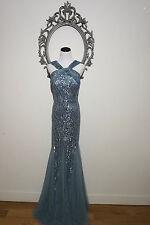 $1265.00 New Alberto Makali Blue Evening Gown Sequin Maxi Dress Size 16 BEYOU*