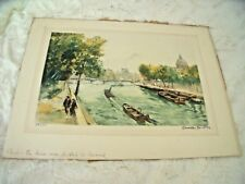 VINTAGE 1930's CHARLES BLONDIN Etching Print PARIS Seine River 59/500 Listed Art