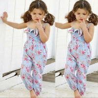 Summer Kid Baby Girl Tassel Foral Overalls Jumpsuit Pants trousers Outfit T