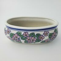 AAA Imports Ceramic Bowl Planter Vase Pink Green Floral Vintage Flower Pot