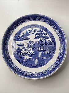 "Vintage W&C Blue /White Willow Pattern Cake Stand / Raised Desert Plate 11 1/2"""