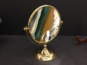 "Large 10"" Wide Gold Brass Makeup Mirror Double Standing Vanity Magnifier Mirror"
