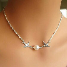 Elegant Silver 2-Flying-Birds Swallow Simple Pearl Choker Necklace Jewelry Gift