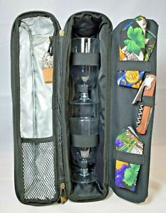 """Picnic at Ascot - """"Sunset Deluxe"""" Insulated Single Bottle Wine Bag w/Glasses"""