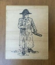 Detailed Rubber Stamps Man Trenchcoat Rain Puddle