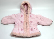 Toddler Girls 3T Puffer Winter Coat Pink Corduroy With Flowers and Faux Fur