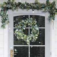 Outdoor Christmas Eucalyptus Wreath Garland | Door Fireplace Mantel Garden Decor