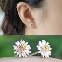 Women Jewelry 925 Silver Plated Chrysanthemum Daisy Shape Ear Stud Earrings SP