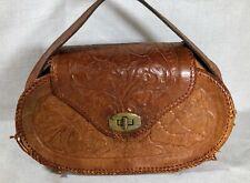 VINTAGE Hand Tooled Carved Flowers Leather Bag purse handbag  handmade