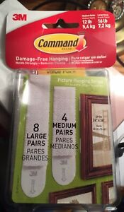 Command™ Picture Hanging Strips  Removable Holds Up to 16 lb  White, 24/PK