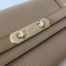 Coach 53028 Beige Pebble Leather Turnlock Swagger Wallet Envelope Clutch Purse