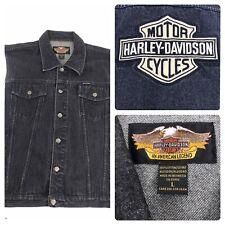 Vintage Harley Davidson Denim Vest Jacket Embroidered Motorcycles 90s Men L