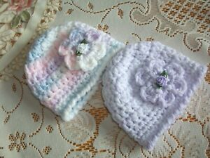 PACK X 2 HANDCROCHETED SOFT CHUNKY HATS..TO FIT EARLY/TINY AND BABY DOLLS