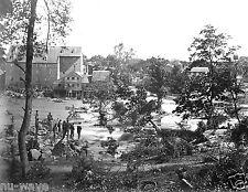 1865 Civil War-Johnson's Mill Petersburg, VA-Troops on Rocks in Appomattox River