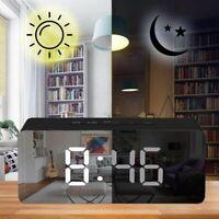 LED Creative Digital Alarm Clock Night Light Thermometer Display Mirror Lamp Hot