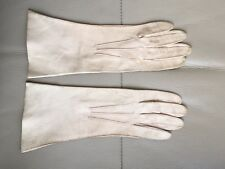 Vintage Retro 1940s German Zone Kid Cream Leather Gloves Size 6
