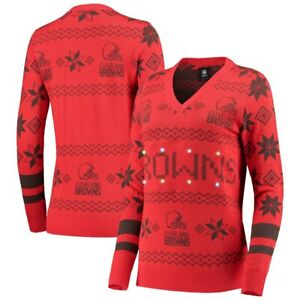 Cleveland Browns Women's LIGHT UP V-Neck UGLY Christmas Sweater NEW