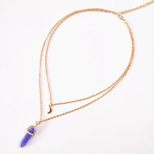 Vintage Women Double Moon Gothic Pendant Chocker Layer Stone Collar Necklace