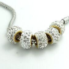 10PCS silver glass Crystal Rhinestone Fit European charms beads  Bracelet SF22