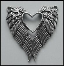 PEWTER CHARM #431 ANGEL FEATHER WiNGS / HEART (43mm x 48mm) 2 top bails
