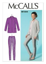 McCalls M7294 Misses Jacket, Top and Leggings Sewing Pattern Size 16-24