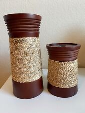 PartyLite Candle Holders / Set of 2 Texture Wrapped Pillar Candle Holders