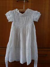 Antique Edwardian dolls tea dress cotton lace white 1900s 1910 batiste