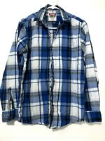 Wrangler Mens Long Sleeve Button Down Plaid Flannel Shirt Blue White Size Small