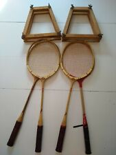 Vintage Badminton 4 Racquets Double Wooden Frames press top notch & signature