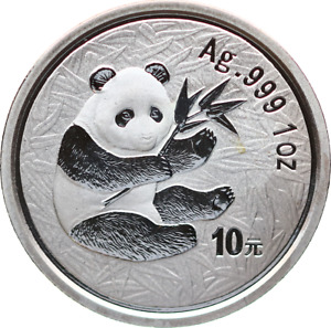 MGM *China PANDA 10 Yuan 2000 Stempelglanz, 1 oz Ag, Auflage 140.000 Ex.